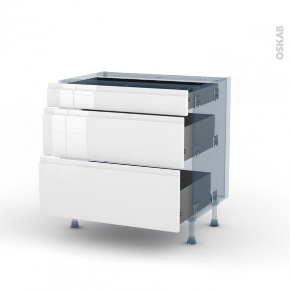 IPOMA Blanc - Kit Rénovation 18 - Meuble casserolier - 3 tiroirs - L80xH70xP60