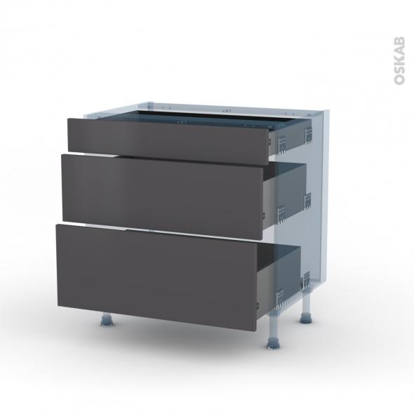 GINKO Gris - Kit Rénovation 18 - Meuble casserolier - 3 tiroirs - L80xH70xP60