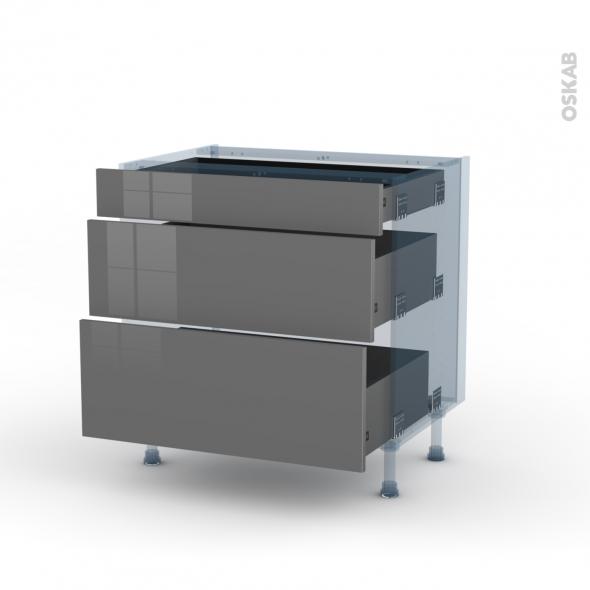 STECIA Gris - Kit Rénovation 18 - Meuble casserolier - 3 tiroirs - L80xH70xP60