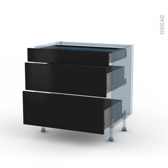 ginko noir kit r novation 18 meuble casserolier 3 tiroirs l80xh70xp60 oskab. Black Bedroom Furniture Sets. Home Design Ideas