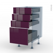 KERIA Aubergine - Kit Rénovation 18 - Meuble casserolier  - 4 tiroirs - L40xH70xP60
