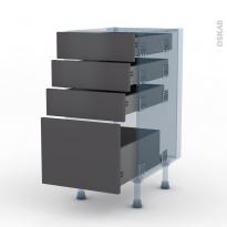 GINKO Gris - Kit Rénovation 18 - Meuble casserolier  - 4 tiroirs - L40xH70xP60