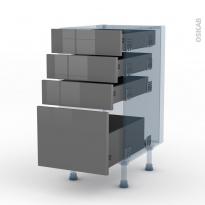 STECIA Gris - Kit Rénovation 18 - Meuble casserolier  - 4 tiroirs - L40xH70xP60