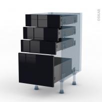 KERIA Noir - Kit Rénovation 18 - Meuble casserolier  - 4 tiroirs - L40xH70xP60
