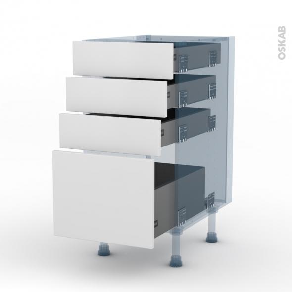 GINKO Blanc - Kit Rénovation 18 - Meuble casserolier - 4 tiroirs - L40xH70xP60