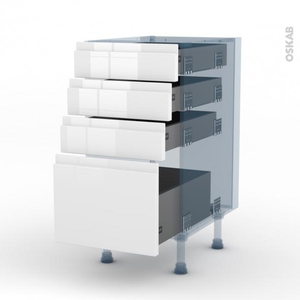 IPOMA Blanc - Kit Rénovation 18 - Meuble casserolier  - 4 tiroirs - L40xH70xP60