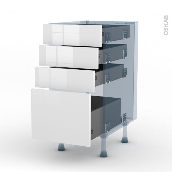 STECIA Blanc - Kit Rénovation 18 - Meuble casserolier  - 4 tiroirs - L40xH70xP60