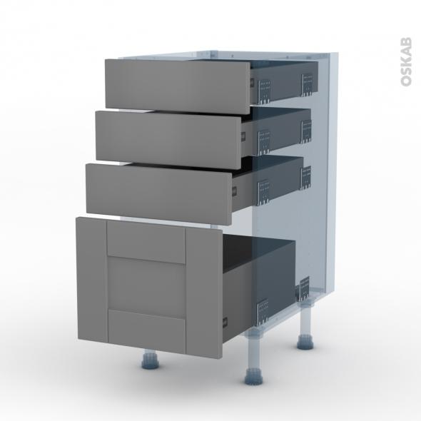 FILIPEN Gris - Kit Rénovation 18 - Meuble casserolier  - 4 tiroirs - L40xH70xP60