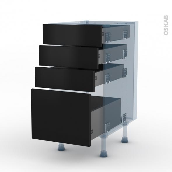 GINKO Noir - Kit Rénovation 18 - Meuble casserolier  - 4 tiroirs - L40xH70xP60