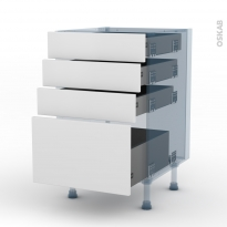 GINKO Blanc - Kit Rénovation 18 - Meuble casserolier - 4 tiroirs - L50xH70xP60
