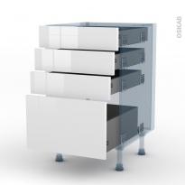 STECIA Blanc - Kit Rénovation 18 - Meuble casserolier  - 4 tiroirs - L50xH70xP60