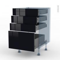 KERIA Noir - Kit Rénovation 18 - Meuble casserolier  - 4 tiroirs - L50xH70xP60