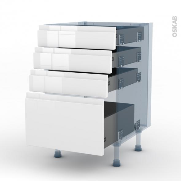 IPOMA Blanc - Kit Rénovation 18 - Meuble casserolier  - 4 tiroirs - L50xH70xP60