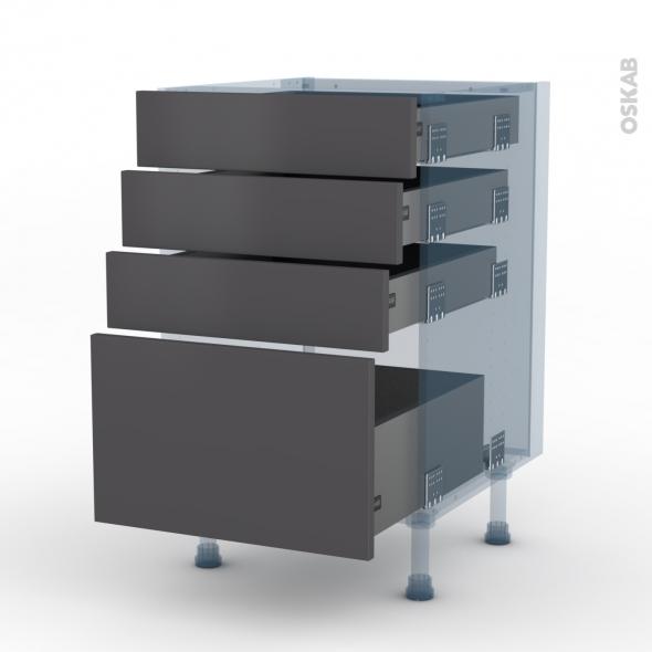 GINKO Gris - Kit Rénovation 18 - Meuble casserolier  - 4 tiroirs - L50xH70xP60