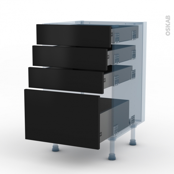GINKO Noir - Kit Rénovation 18 - Meuble casserolier  - 4 tiroirs - L50xH70xP60