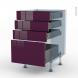KERIA Aubergine - Kit Rénovation 18 - Meuble casserolier  - 4 tiroirs - L50xH70xP60