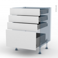 GINKO Blanc - Kit Rénovation 18 - Meuble casserolier - 4 tiroirs - L60xH70xP60