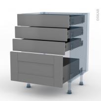 FILIPEN Gris - Kit Rénovation 18 - Meuble casserolier  - 4 tiroirs - L50xH70xP60