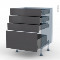 GINKO Gris - Kit Rénovation 18 - Meuble casserolier  - 4 tiroirs - L60xH70xP60