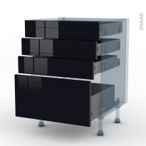 KERIA Noir - Kit Rénovation 18 - Meuble casserolier  - 4 tiroirs - L60xH70xP60