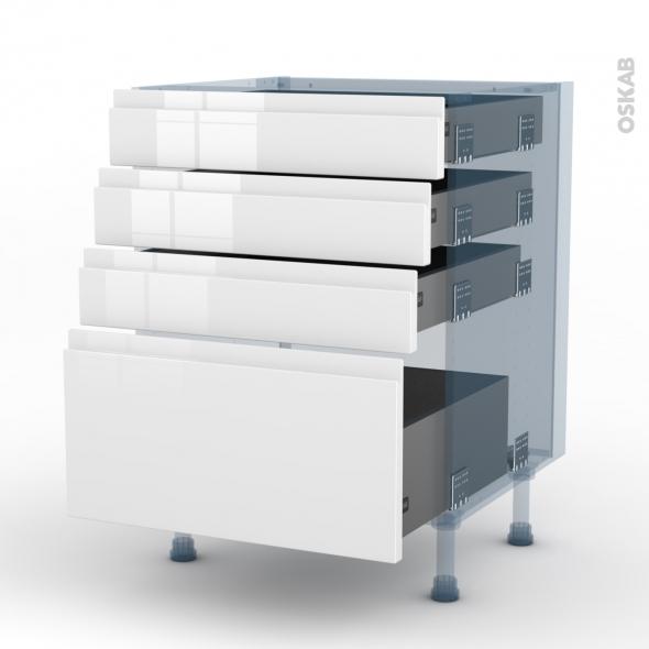 IPOMA Blanc - Kit Rénovation 18 - Meuble casserolier  - 4 tiroirs - L60xH70xP60