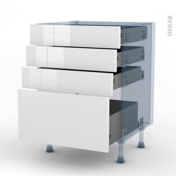 STECIA Blanc - Kit Rénovation 18 - Meuble casserolier  - 4 tiroirs - L60xH70xP60