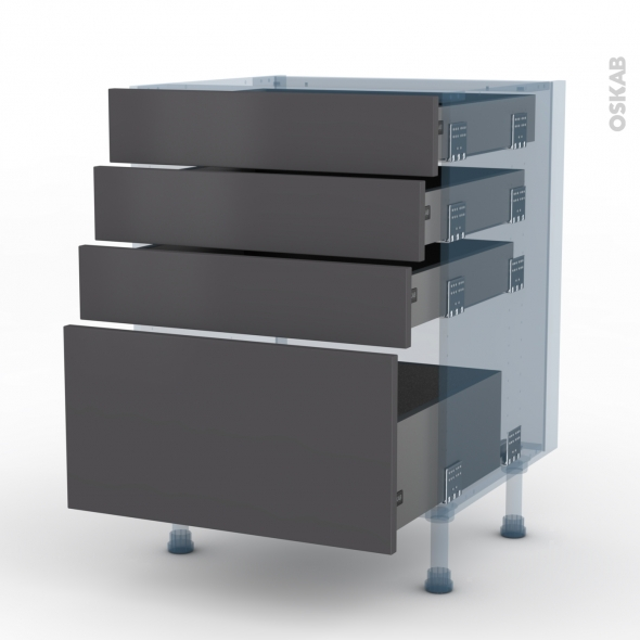 Ginko gris kit r novation 18 meuble casserolier 4 tiroirs for Meuble 4 tiroirs ikea