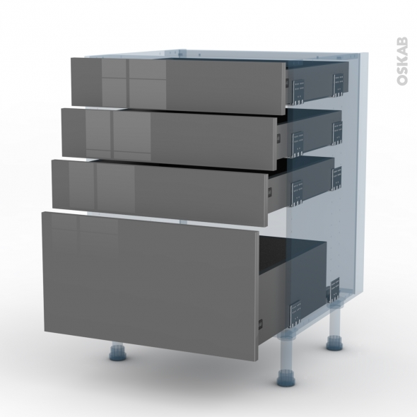 STECIA Gris - Kit Rénovation 18 - Meuble casserolier  - 4 tiroirs - L60xH70xP60