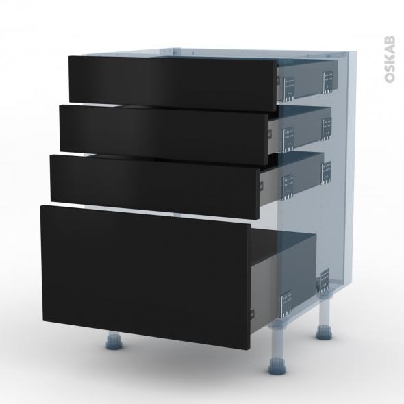 GINKO Noir - Kit Rénovation 18 - Meuble casserolier  - 4 tiroirs - L60xH70xP60