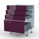KERIA Aubergine - Kit Rénovation 18 - Meuble casserolier  - 4 tiroirs - L60xH70xP60