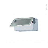 SOKLEO - Façade alu blanc vitrée - Kit Rénovation 18 - Meuble haut abattant H35  - 1 porte - L60xH35xP37,5