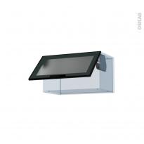 SOKLEO - Façade alu noir vitrée - Kit Rénovation 18 - Meuble haut abattant H35  - 1 porte - L60xH35xP37,5