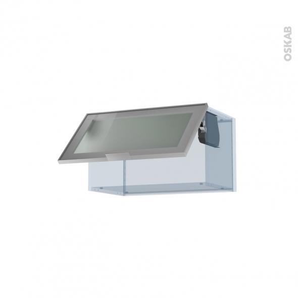 SOKLEO - Façade alu vitrée - Kit Rénovation 18 - Meuble haut abattant H35  - 1 porte - L60xH35xP37,5
