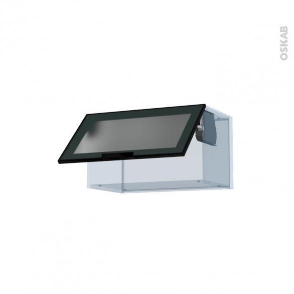 sokleo fa ade alu noir vitr e kit r novation 18 meuble haut abattant h35 1 porte l60xh35xp37 5. Black Bedroom Furniture Sets. Home Design Ideas