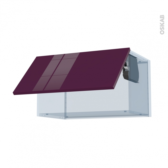 KERIA Aubergine - Kit Rénovation 18 - Meuble haut abattant H35  - 1 porte - L60xH35xP37,5