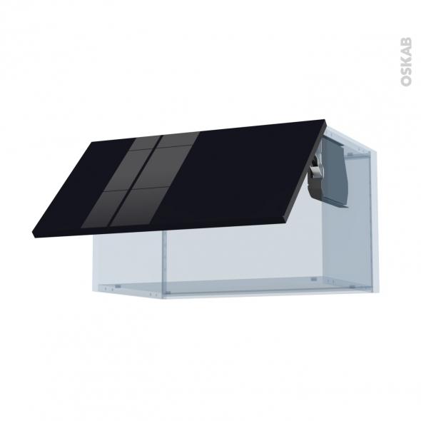 KERIA Noir - Kit Rénovation 18 - Meuble haut abattant H35  - 1 porte - L60xH35xP37,5