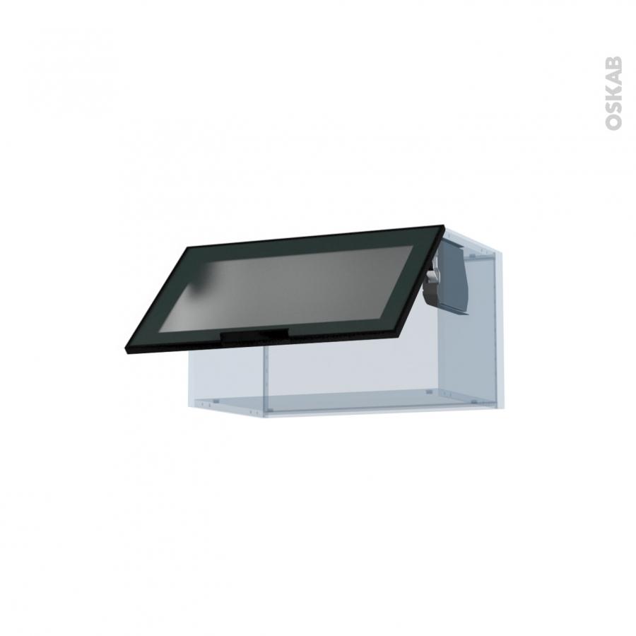 Sokleo fa ade alu noir vitr e kit r novation 18 meuble Boitier relevant pour double porte de meuble cuisine