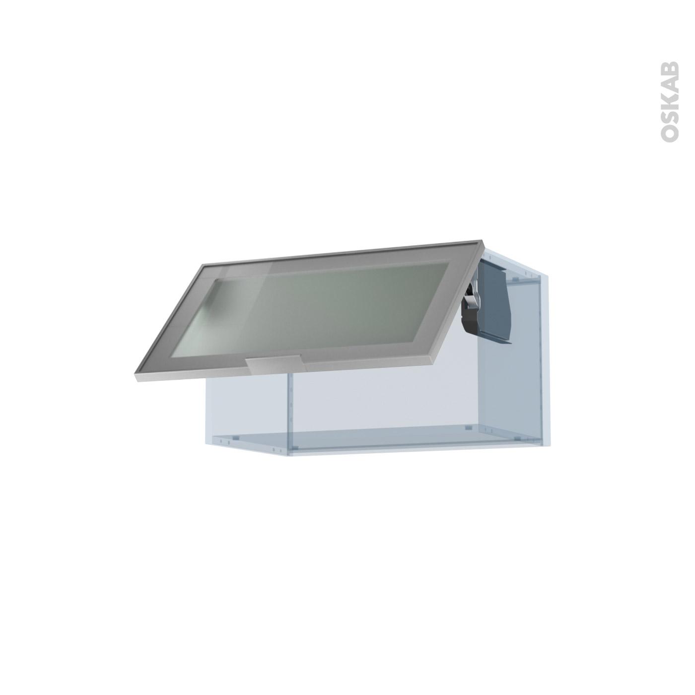 SOKLEO Façade alu vitrée Kit Rénovation 18 Meuble haut abattant H35 1 porte  L60xH35xP37,5 - Oskab