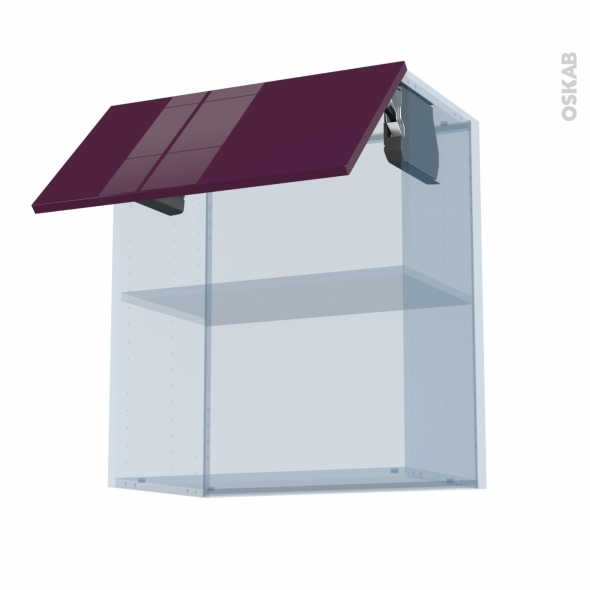 KERIA Aubergine - Kit Rénovation 18 - Meuble haut MO niche 36/38  - 1 porte - L60xH70xP37,5