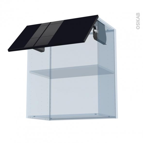 KERIA Noir - Kit Rénovation 18 - Meuble haut MO niche 36/38  - 1 porte - L60xH70xP37,5