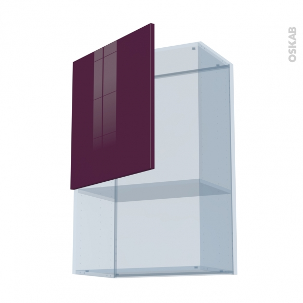 KERIA Aubergine - Kit Rénovation 18 - Meuble haut MO niche 36/38  - 1 porte - L60xH92xP37,5