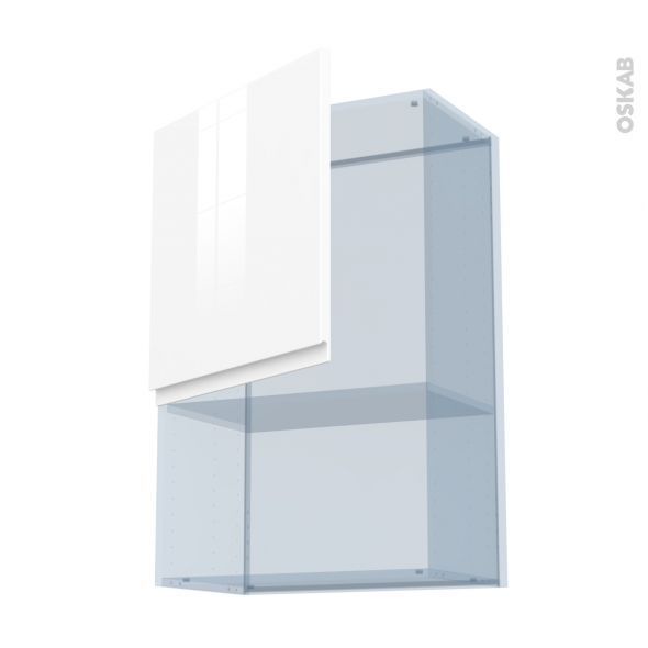IPOMA Blanc brillant - Kit Rénovation 18 - Meuble haut MO niche 36/38  - 1 porte - L60xH92xP37,5