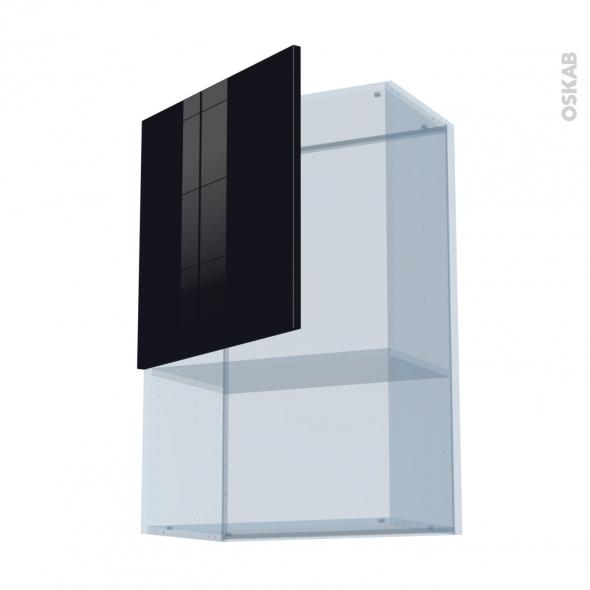 KERIA Noir - Kit Rénovation 18 - Meuble haut MO niche 36/38  - 1 porte - L60xH92xP37,5