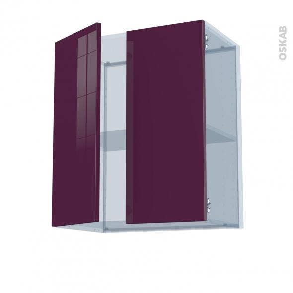 KERIA Aubergine - Kit Rénovation 18 - Meuble haut ouvrant H70 - 2 portes - L60xH70xP37,5