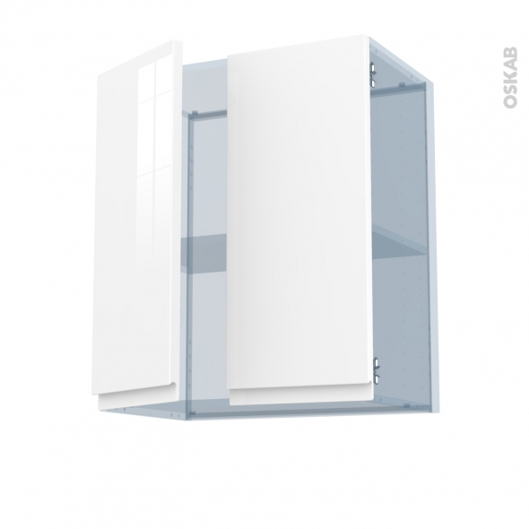 IPOMA Blanc - Kit Rénovation 18 - Meuble haut ouvrant H70 - 2 portes - L60xH70xP37,5