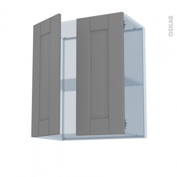 FILIPEN Gris - Kit Rénovation 18 - Meuble haut ouvrant H70 - 2 portes - L60xH70xP37,5