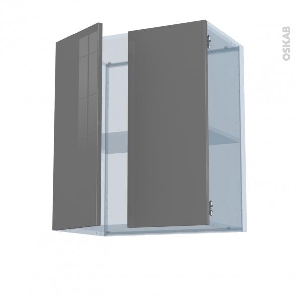 STECIA Gris - Kit Rénovation 18 - Meuble haut MO niche 36/38  - 1 porte - L60xH92xP37,5