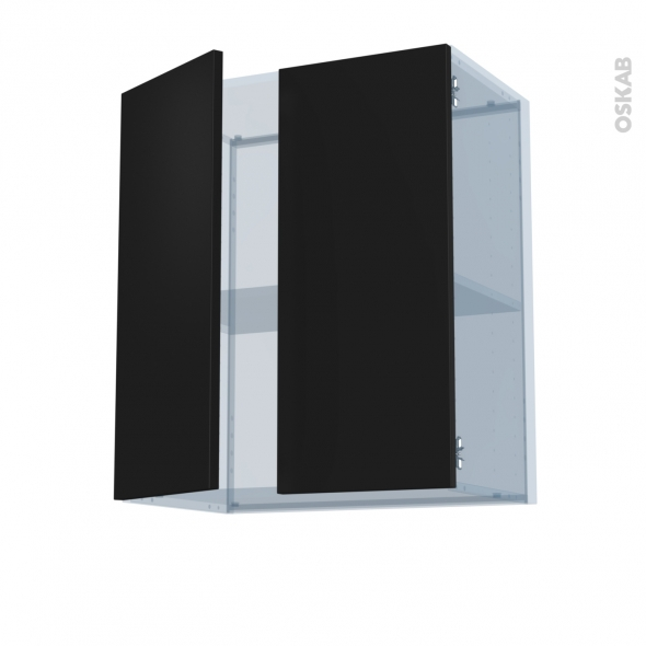 GINKO Noir - Kit Rénovation 18 - Meuble haut ouvrant H70 - 2 portes - L60xH70xP37,5