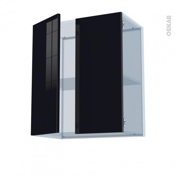 KERIA Noir - Kit Rénovation 18 - Meuble haut ouvrant H70 - 2 portes - L60xH70xP37,5