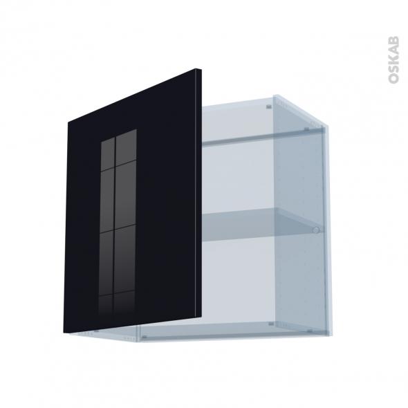 KERIA Noir - Kit Rénovation 18 - Meuble haut ouvrant H57 - 1 porte - L60xH57xP37,5